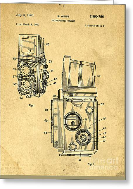 Rolleiflex Medium Format Twin Lens Reflex Tlr Patent Greeting Card by Edward Fielding