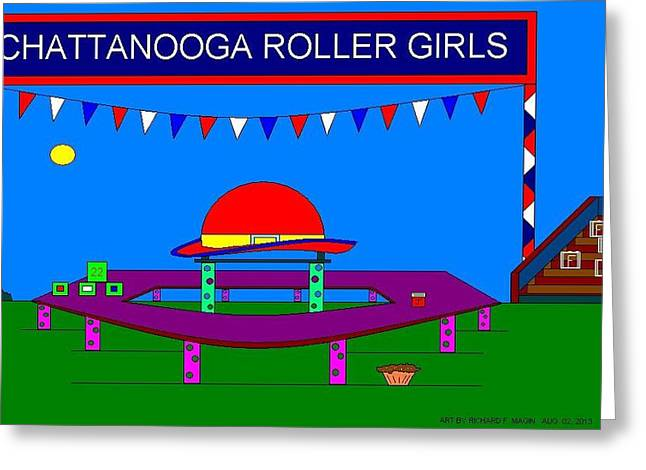 Etc. Paintings Greeting Cards - Roller Derby With Banner. Greeting Card by Richard Magin