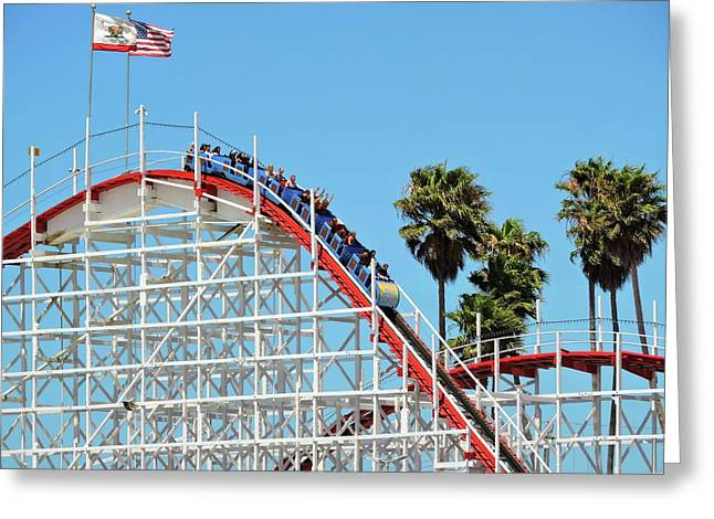 Santa Cruz Ca Greeting Cards - Roller Coaster Greeting Card by Connor Beekman