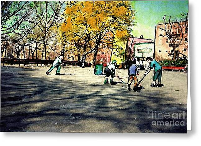 Roller Hockey In Bennett Park Greeting Card by Sarah Loft
