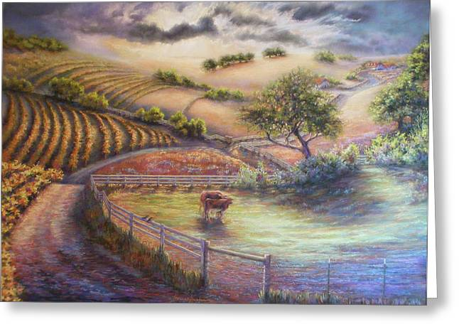 Dew Pastels Greeting Cards - Rolling Ballard Canyon Greeting Card by Denise Horne-Kaplan