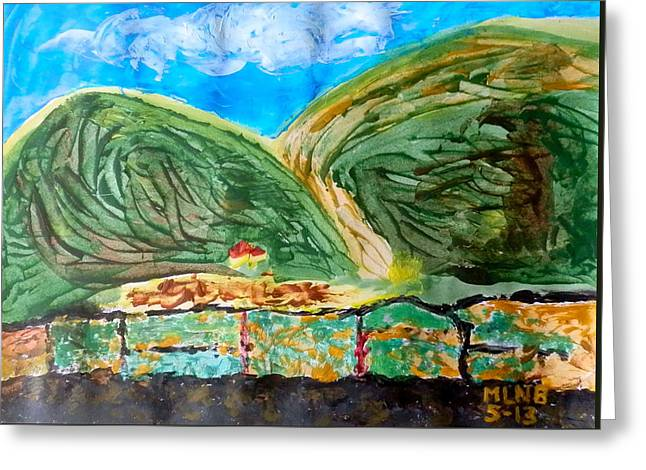 St Margaret Paintings Greeting Cards - Rolling hills of South Reward Greeting Card by Margaret Brooks