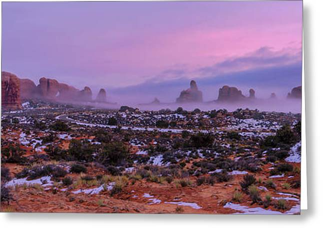 Rolling Mist Through Arches Greeting Card by Chad Dutson