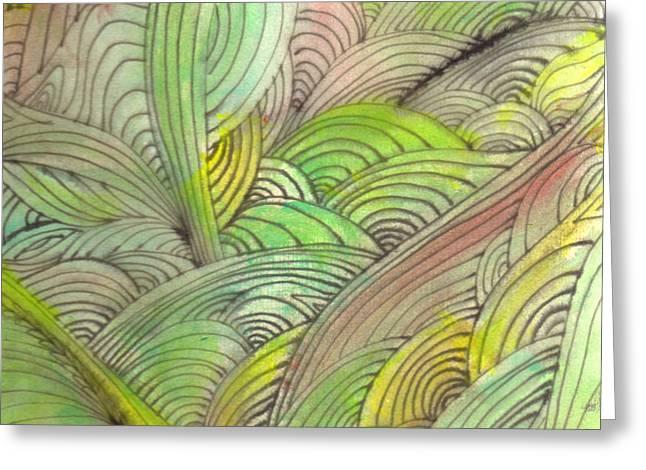 Rolling Patterns in Greens Greeting Card by Wayne Potrafka