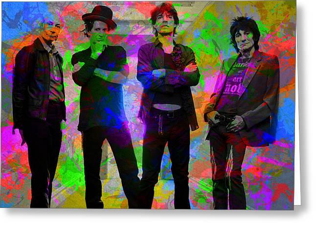 Rolling Stones Band Portrait Paint Splatters Pop Art Greeting Card by Design Turnpike