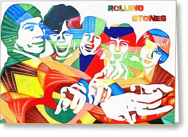 Rolling Stones Colorful Abstract Greeting Card by Dan Sproul