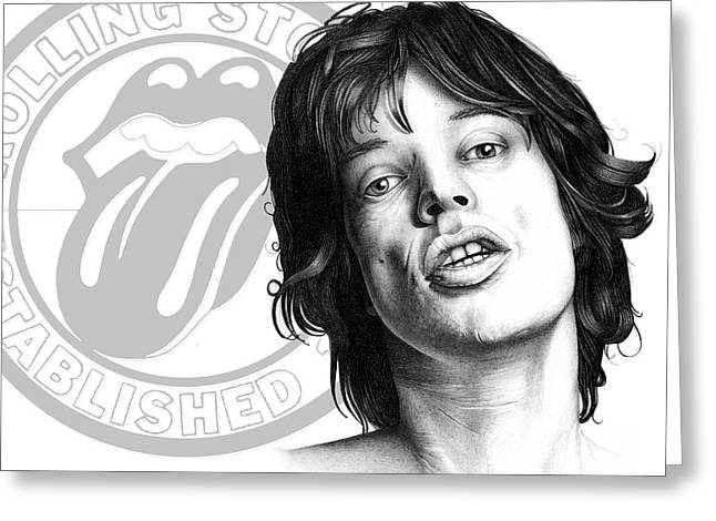 Rocks Drawings Greeting Cards - Rolling Stones Mick Jagger Drawing Greeting Card by Lee Appleby