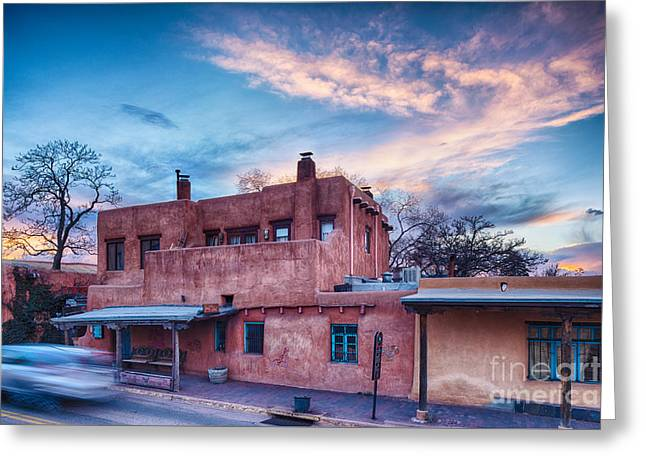 City Art Greeting Cards - Rolling through the Streets of Santa Fe at Sunset - The City Different New Mexico Greeting Card by Silvio Ligutti