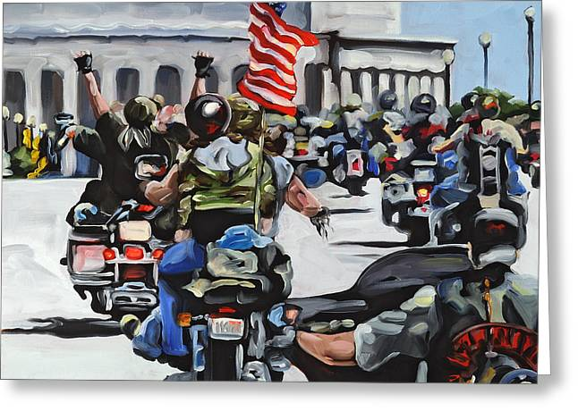 Veterans Memorial Paintings Greeting Cards - Rolling Thunder Greeting Card by Anne Lewis