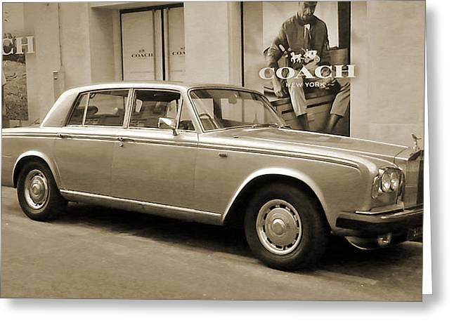 Old Street Greeting Cards - Rolls Royce 1  Greeting Card by Magnus Lofgren