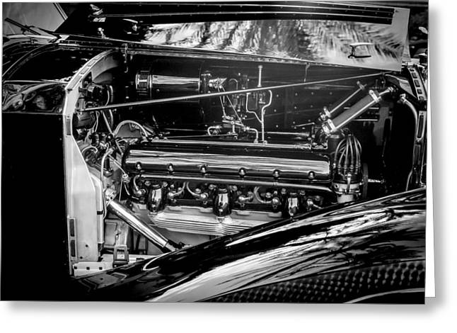 Famous Photographer Greeting Cards - Rolls-Royce Engine -0237bw Greeting Card by Jill Reger