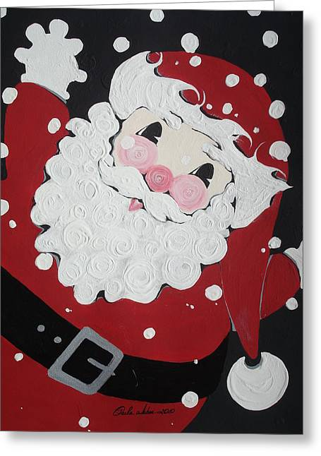 Decorated For Christmas Greeting Cards - Roly Poly Santa Greeting Card by Paula Weber