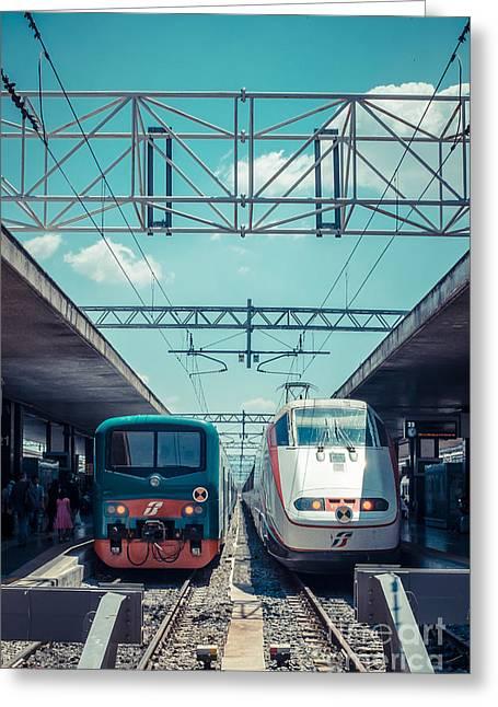 Terminal Greeting Cards - Roma Termini Railway Station Greeting Card by Edward Fielding