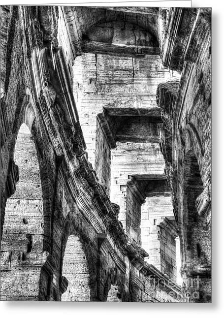 Historic Architecture Greeting Cards - Roman Arena At Arles 3 BW Greeting Card by Mel Steinhauer
