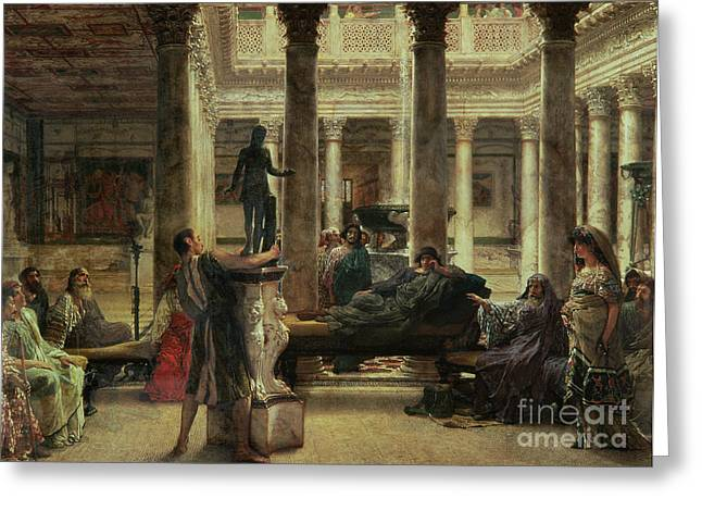 Couch Greeting Cards - Roman Art Lover Greeting Card by Sir Lawrence Alma-Tadema