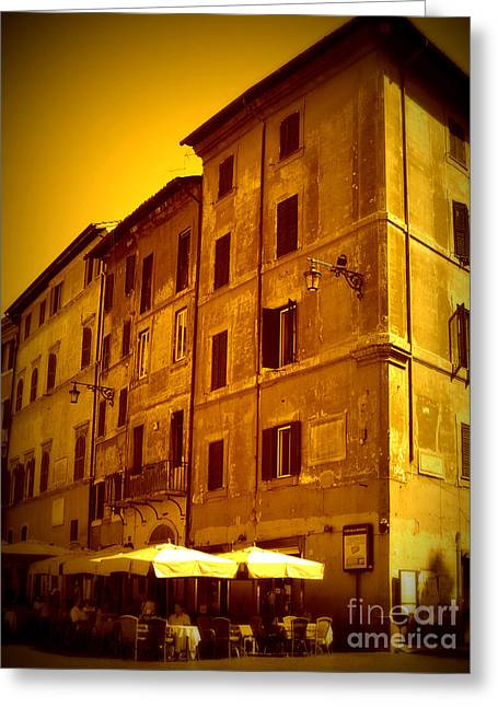 Roman Cafe With Golden Sepia 2 Greeting Card by Carol Groenen