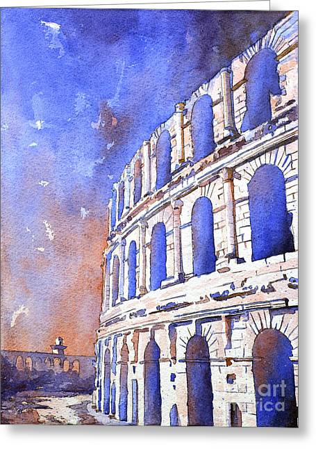 African Heritage Greeting Cards - Roman Coliseum- Africa Greeting Card by Ryan Fox
