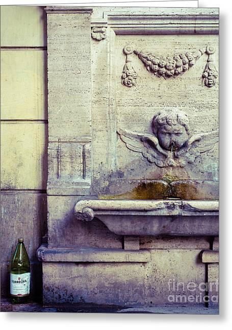 Italian Wine Greeting Cards - Roman Fountain of Wine Greeting Card by Sonja Quintero