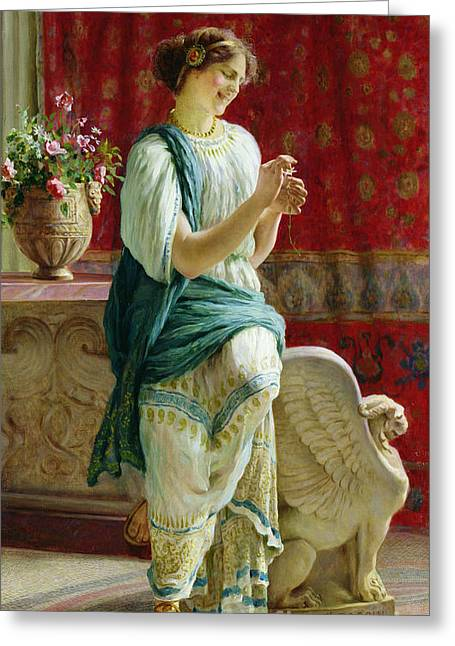 Statue Portrait Greeting Cards - Roman Girl Greeting Card by Guglielmo Zocchi