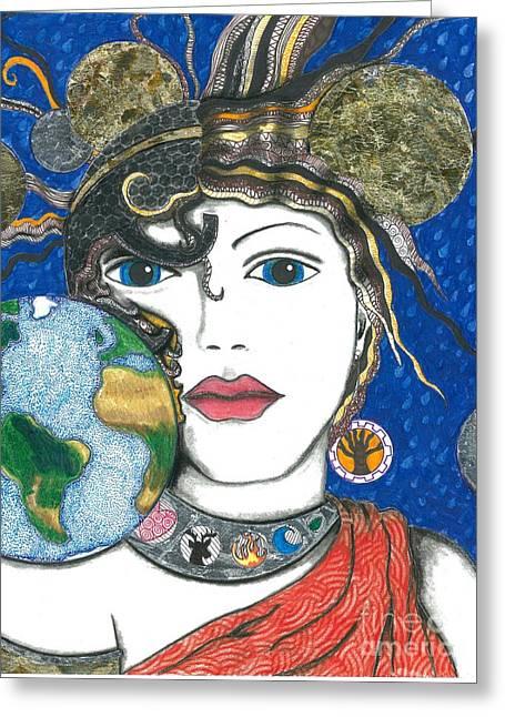 Warrior Goddess Greeting Cards - Roman Goddess Terra Mater Greeting Card by Sherie Balko-Nation