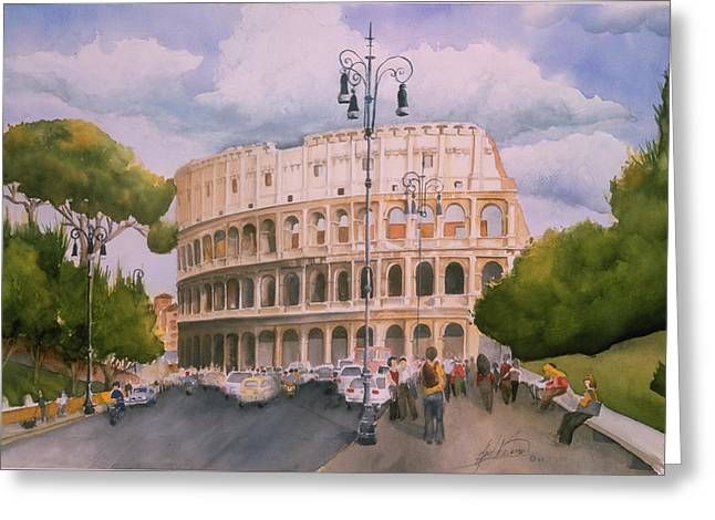 Roman Holiday- Colosseum Greeting Card by Leah Wiedemer