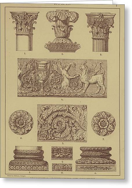 Roman, Ornamental Architecture And Sculpture Greeting Card by German School
