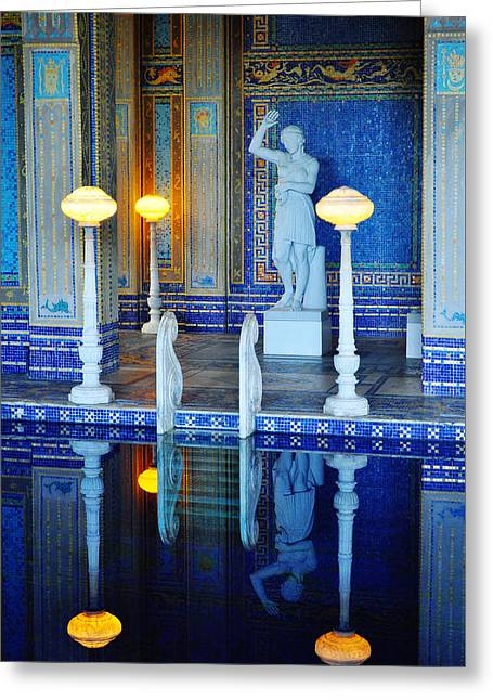 Coast Highway One Greeting Cards - Roman Pool Hearst Castle Portrait Greeting Card by Kyle Hanson