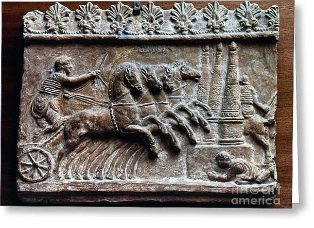 2nd Greeting Cards - Roman Relief: Chariot Race Greeting Card by Granger