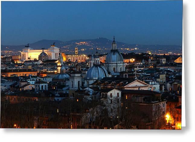 Roman Skyline Greeting Card by Giorgio Lumaconi
