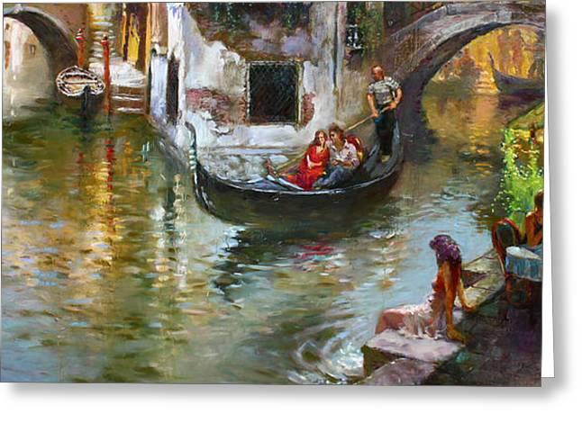 Gondolas Greeting Cards - Romance in Venice 2 Greeting Card by Ylli Haruni