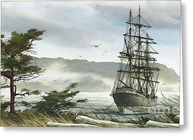 Tall Ship Canvas Greeting Cards - Romance of Sailing Greeting Card by James Williamson