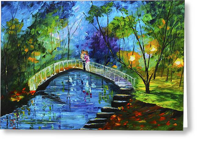 Streetlight Greeting Cards - Romance on the Bridge Greeting Card by Kevin  Brown