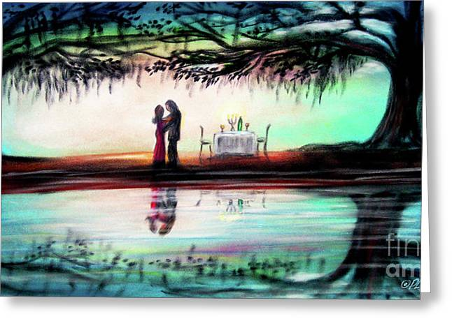 Dinner Pastels Greeting Cards - Romance Under The Oaks Greeting Card by Patricia L Davidson