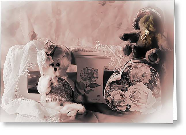 Baby Room Greeting Cards - Romancing Bears Greeting Card by Camille Lopez