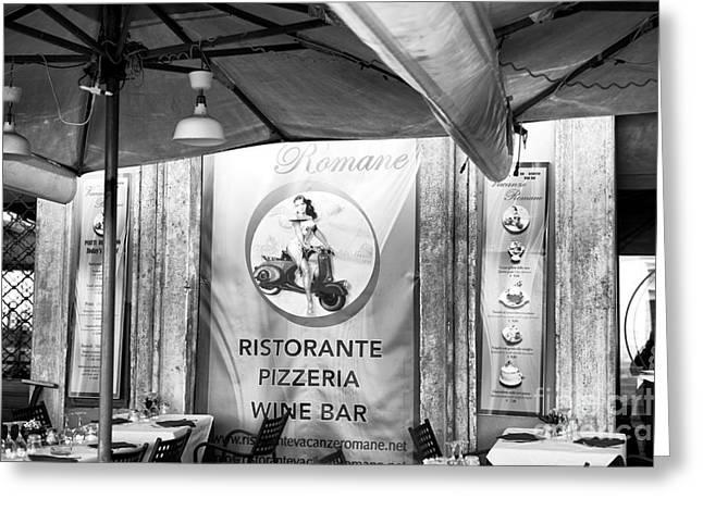 Italian Restaurant Greeting Cards - Romane Greeting Card by John Rizzuto