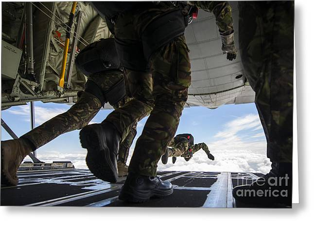 High Altitude Flying Greeting Cards - Romanian Paratroopers Perform A Halo Greeting Card by Stocktrek Images