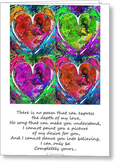 Pink Heart Greeting Cards - Romantic Art - Completely Yours - By Sharon Cummings Greeting Card by Sharon Cummings