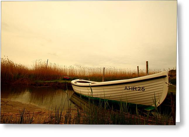Summer Storm Greeting Cards - Romantic Boat Greeting Card by Heike Hultsch