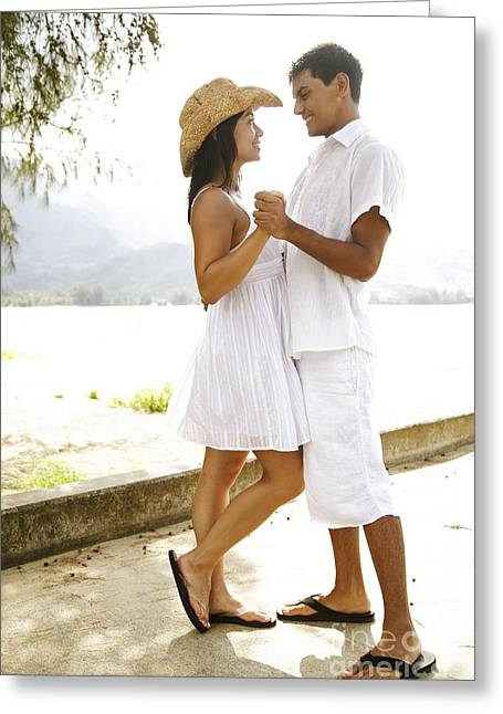 Romantic Couple In White Greeting Card by Kicka Witte - Printscapes