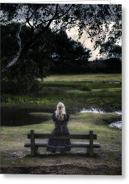 Beautiful Young Woman Greeting Cards - Romantic Evening At The Pond Greeting Card by Joana Kruse