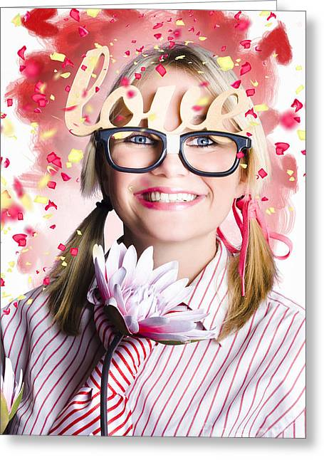 Youthful Greeting Cards - Romantic female nerd in a celebration of love Greeting Card by Ryan Jorgensen