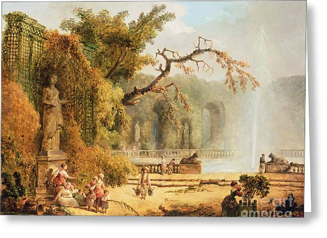 Trellis Paintings Greeting Cards - Romantic garden scene Greeting Card by Hubert Robert