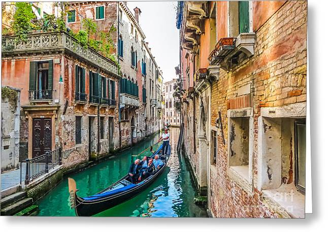 Historic Architecture Greeting Cards - Romantic Gondola scene on canal in Venice Greeting Card by JR Photography