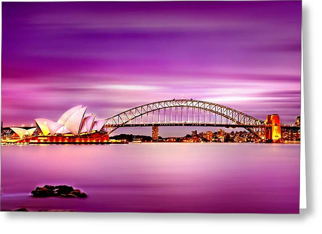 Pink Sunset Greeting Cards - Romantic Harbour  Greeting Card by Az Jackson