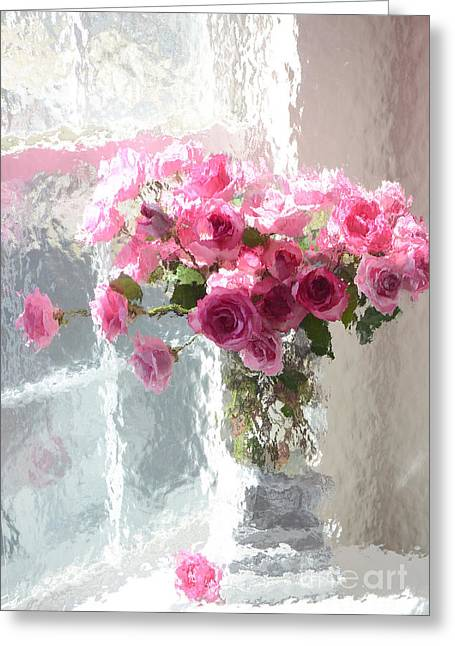 Belles Photographs Greeting Cards - Romantic Impressionistic Pink Roses - French Roses In Vase Shabby Chic Cottage Pink Floral Art Greeting Card by Kathy Fornal