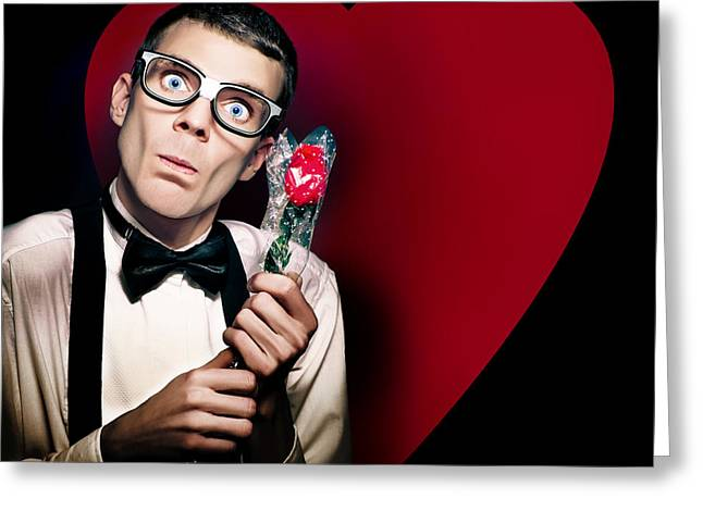 Desperate Greeting Cards - Romantic Nerd Holding Rose On Love Heart Background Greeting Card by Ryan Jorgensen