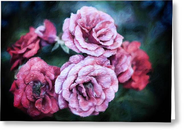 Romantic Night Roses Greeting Card by Georgiana Romanovna