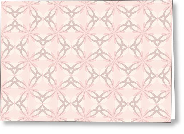 Cushion Greeting Cards - Romantic Pink and Grey Flowers Greeting Card by Lena Kouneva