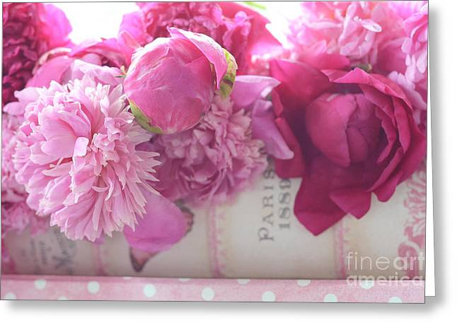 Romantic Pink Red Peonies - Shabby Chic Red Paris Pink Peonies Greeting Card by Kathy Fornal