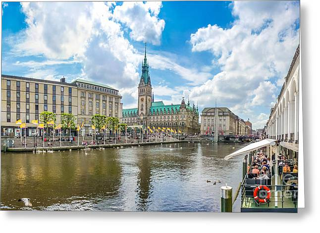 Historic Ship Greeting Cards - Romantic place in Hamburg Downtown Greeting Card by JR Photography
